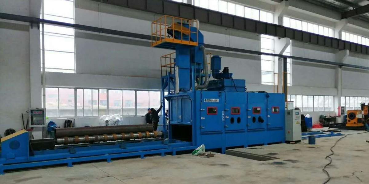 南京客户采购钢管内外壁自动喷砂机安装调试完成!